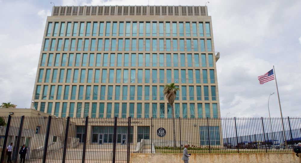 The US flag flaps in the stiff breeze off the Florida Straits at the US Embassy in Havana, Cuba. (File)