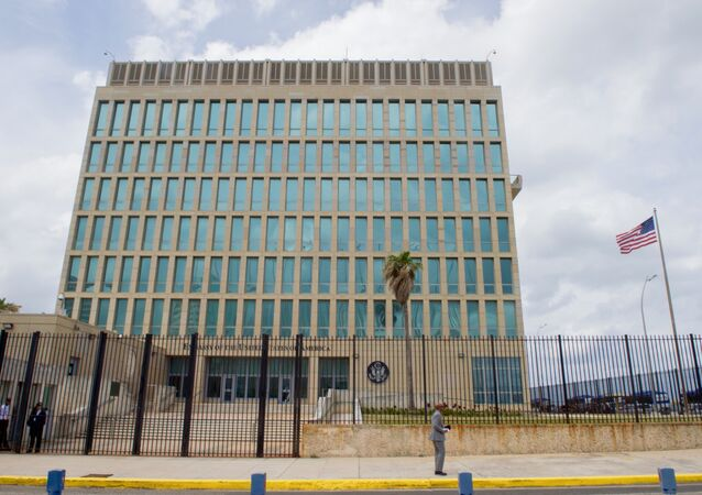 The U.S. flag flaps in the stiff breeze off the Florida Straits at the U.S. Embassy in Havana, Cuba. (File)