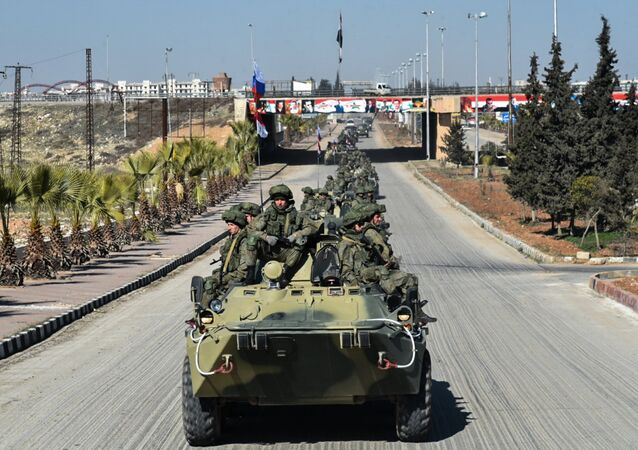 Military engineers of the Russian Army's International Anti-mine Center leave Aleppo