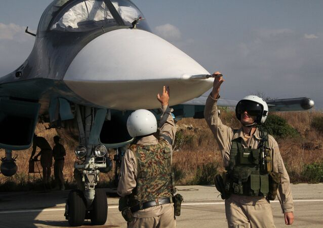 Russian pilots of the Su-34 at the Hmeimim base in Syria. (File)