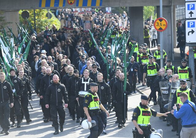 The Nordic Resistance Movement (NMR) march in central Gothenburg, Sweden September 30, 2017.