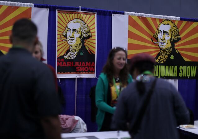People view products at the Cannabis World Congress and Business Exposition, a trade show for the legalized adult use, medical marijuana and industrial hemp industries, in Los Angeles, California, U.S., September 15, 2017.