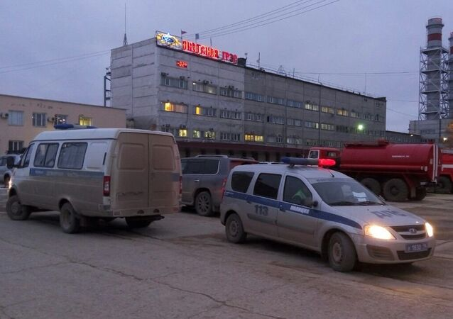 A car of Russian police near the building of Yakutsk power plant where the fire took place.