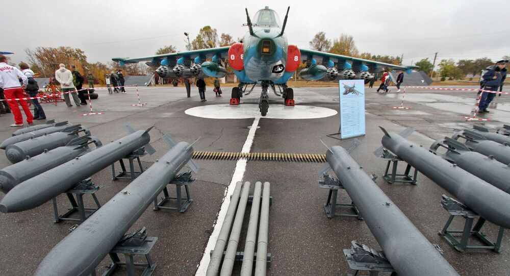 Sukhoi Su-25 displayed on a runway during the 10th anniversary celebrations of the CSTO Russian air base opening in the town of Kant