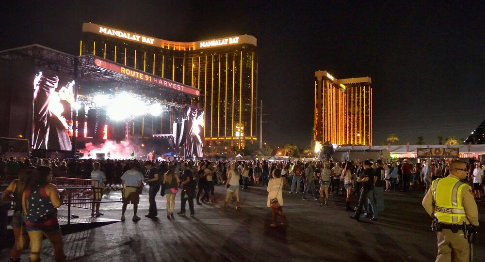 The grounds are shown at the Route 91 Harvest festival, with the Mandalay Bay Hotel behind the stage, on Las Vegas Boulevard South in Las Vegas, Nevada, U.S. September 30, 2017