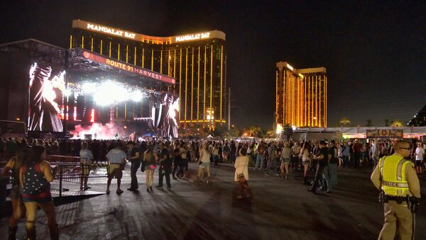 The grounds are shown at the Route 91 Harvest festival, with the Mandalay Bay Hotel behind the stage, on Las Vegas Boulevard South in Las Vegas, Nevada, U.S. September 30, 2017 - Sputnik International