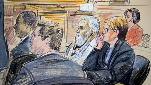 This courtroom sketch shows Ahmed Abu Khattala, third from right, listening to an interpreter through earphones during the opening statement by his defense attorney Jeffery Robinson in federal court in Washington Monday, Oct. 2, 2017. Khattala, the suspected mastermind of the 2012 attacks on a diplomatic compound in Benghazi, Libya, that killed four Americans, is on trial. Also depicted are members of the defense team Cole Lutermilch, left, and Michelle Peterson, second from right. - Sputnik International