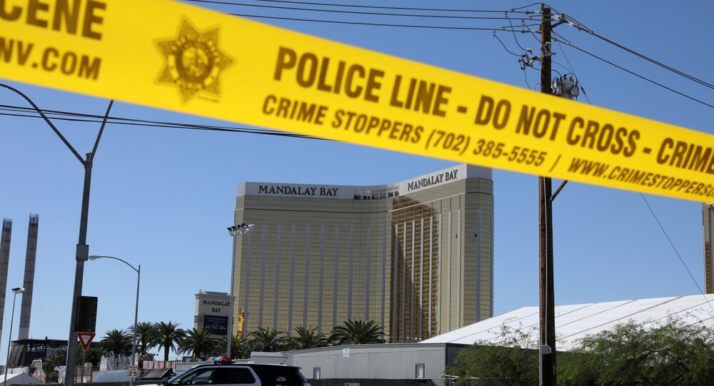 The site of the Route 91 music festival mass shooting is seen outside the Mandalay Bay Resort and Casino in Las Vegas, Nevada, U.S. October 2, 2017