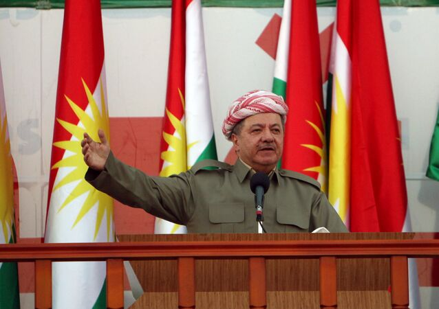 Iraqi Kurdish president Masoud Barzani salutes the crowd while attending a rally that shows the support for the upcoming September 25th independence referendum in Erbil, Iraq September 22, 2017.