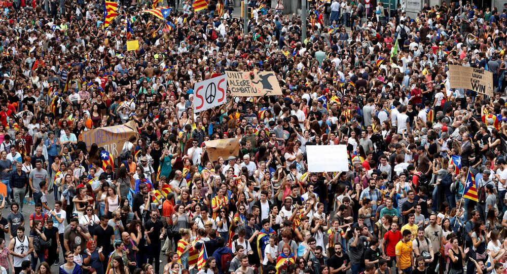 People take part in a demonstration two days after the banned independence referendum in Barcelona, Spain October 3, 2017