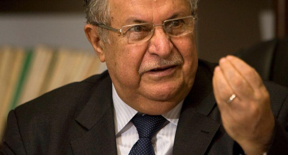 Iraq's President Jalal Talabani speaks during an interview with Reuters in Baghdad in this August 25, 2009 picture