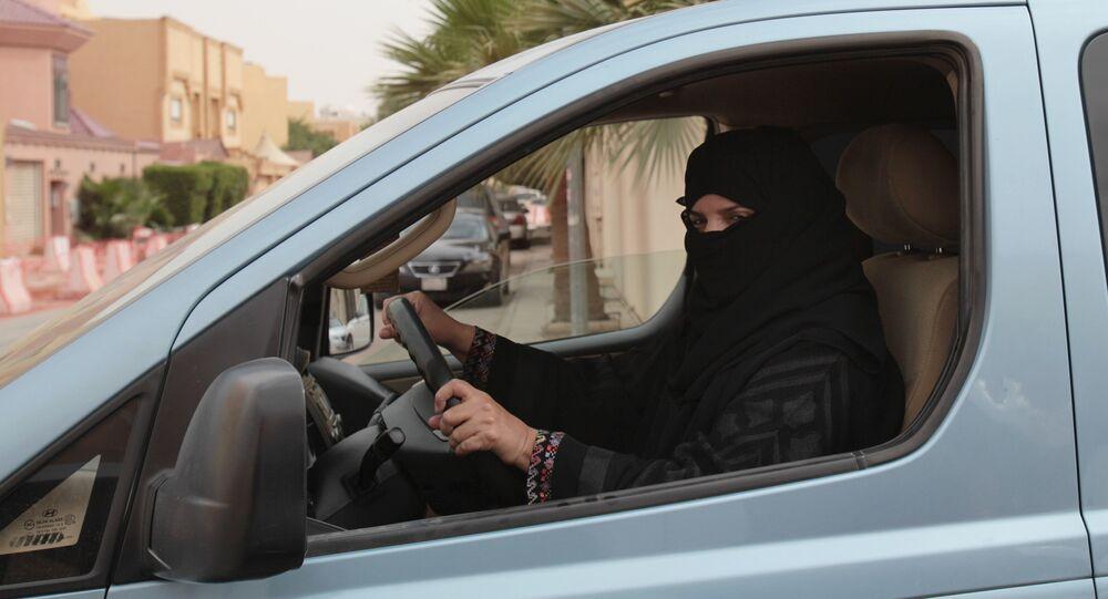 A woman drives a car in Riyadh, Saudi Arabia as part of a campaign to defy Saudi Arabia's ban on women driving (File)