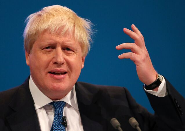 Britain's Secretary of State for Foreign and Commonwealth Affairs Boris Johnson addresses the Conservative Party conference in Manchester, October 3, 2017.