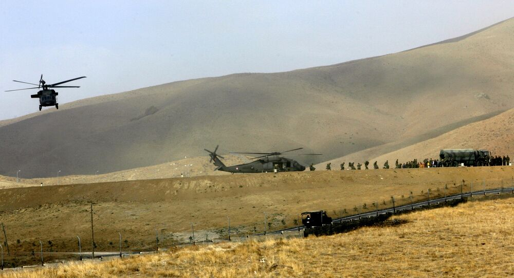 A Turkish military chopper, moving soldiers to the frontier, lands in a mountainous district of Yuksekova, in the Hakkari province, near the Turkish-Iraqi-Iranian border, southeastern Turkey (File)