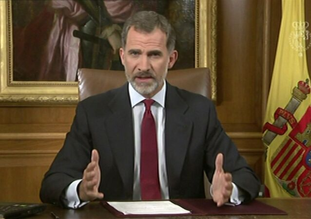 In this image taken from video released by Spanish Royal Palace, Spain's King Felipe VI delivers a speech on television from Zarzuela Palace in Madrid, Tuesday, Oct. 3, 2017.