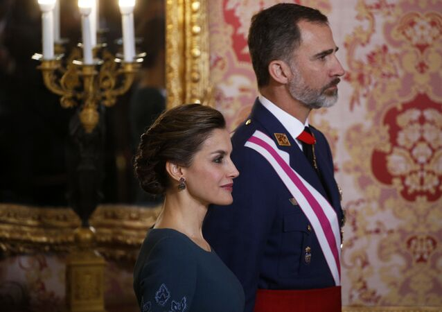 Spain's King Felipe VI and his wife Queen Letizia attend the Epiphany Day celebrations at the Royal Palace in Madrid, Spain, Friday, Jan. 6, 2017.