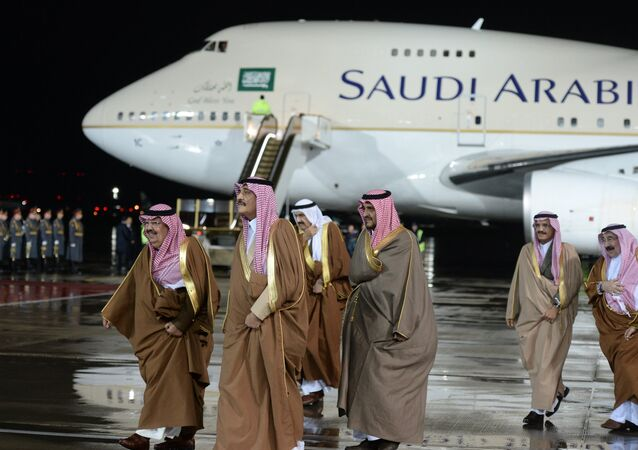 Members of the delegation accompanying King of Saudi Arabia Salman bin Abdulaziz Al Saud, who arrived in Russia for an official visit, at Vnukovo-2 Airport