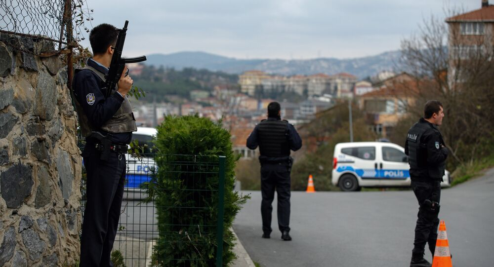 Turkish security members stand outside the U. S. Consulate in Istanbul, Turkey (File)