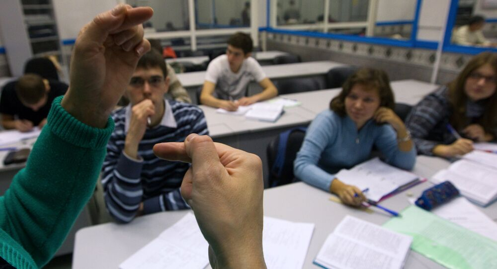 Hearing impaired students studying at the Bauman Moscow State Technical University (MSTU). (File)