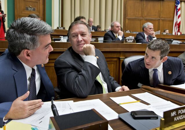 From left, Rep. Cory Gardner, R-Colo., Rep. Mike Pompeo, R-Kan., and Rep. Adam Kinzinger, R-Ill.