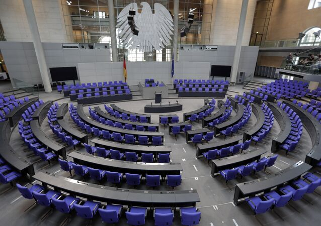 Interior view of the plenar hall of the German Federal Parliament, Bundestag, at the Reichstag building in Berlin, Germany, Tuesday, Sept. 26, 2017.