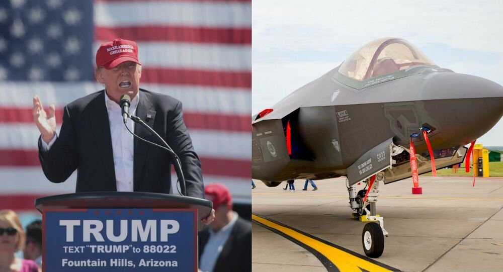 Donald Trump speaking at a campaign rally (photo by Gage Skidmore from WikiMedia Commons) juxtaposed with an F-35 Joint Strike Fighter.