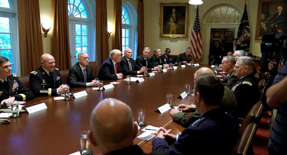 U.S. President Donald Trump participates in a briefing with senior military leaders at the White House in Washington, U.S., October 5, 2017