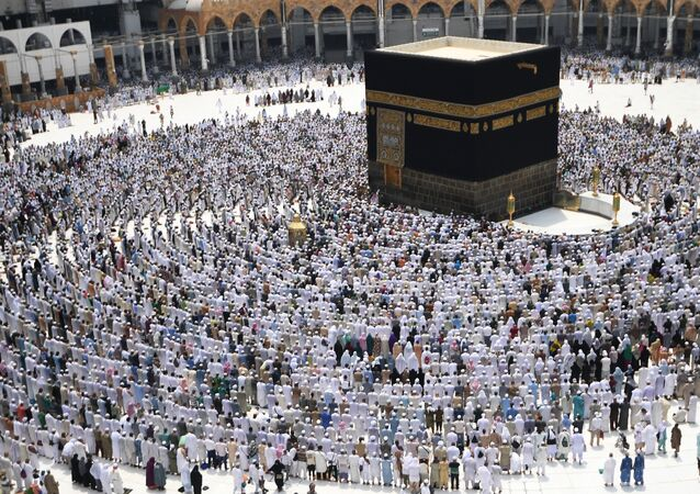 Pilgrims during hajj stand for prayer around the Kaaba at the Al-Masjid al-Haram mosque in Mecca. (File)