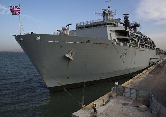 The British Royal Navy amphibious assault ship HMS Bulwark anchored in Haifa port, Israel, Tuesday, Nov. 22, 2016.