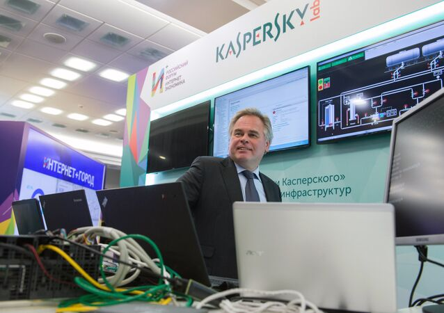 December 22, 2015. Head of Kaspersky Lab Yevgeny Kaspersky near the Lab's stand during the exhibition of Russia's first Internet Economy Forum
