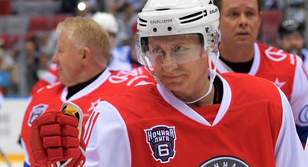President Vladimir Putin takes part in gala match of Night Hockey League's 6th National Festival