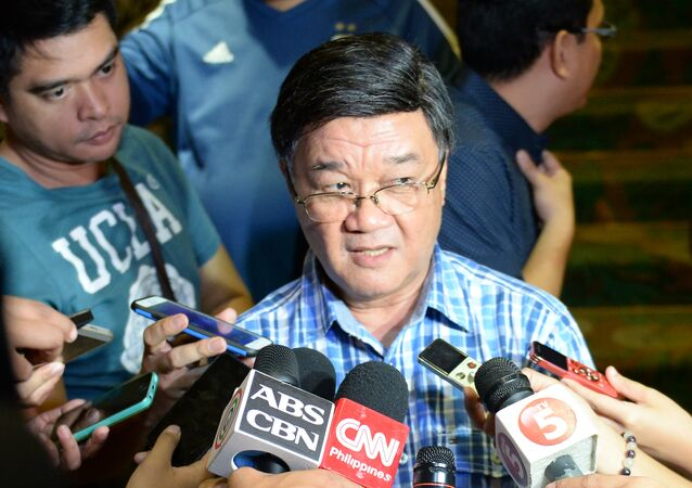 Vitaliano Aguirre, tapped to be the next Philippines' Justice Secretary, speaks to members of the media after meeting President-elect Rodrigo Duterte, at a hotel in Davao City, in southern island of Mindanao on May 18, 2016