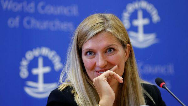 Beatrice Fihn, Executive Director of the International Campaign to Abolish Nuclear Weapons (ICAN), attends a news conference after ICAN won the Nobel Peace Prize 2017, in Geneva, Switzerland October 6, 2017. - Sputnik International