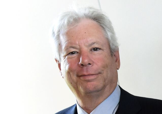 Picture taken on June 22, 2014 shows US economist Richard Thaler after he was awarded the 2014 Global Economy Prize during the award ceremony in Kiel, northern Germany