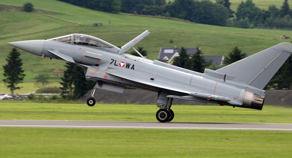 The first Eurofighter Typhoon jet fighter of the Austrian army lands in Zeltweg, Austria, in this file photo dated Thursday, July 12, 2007.