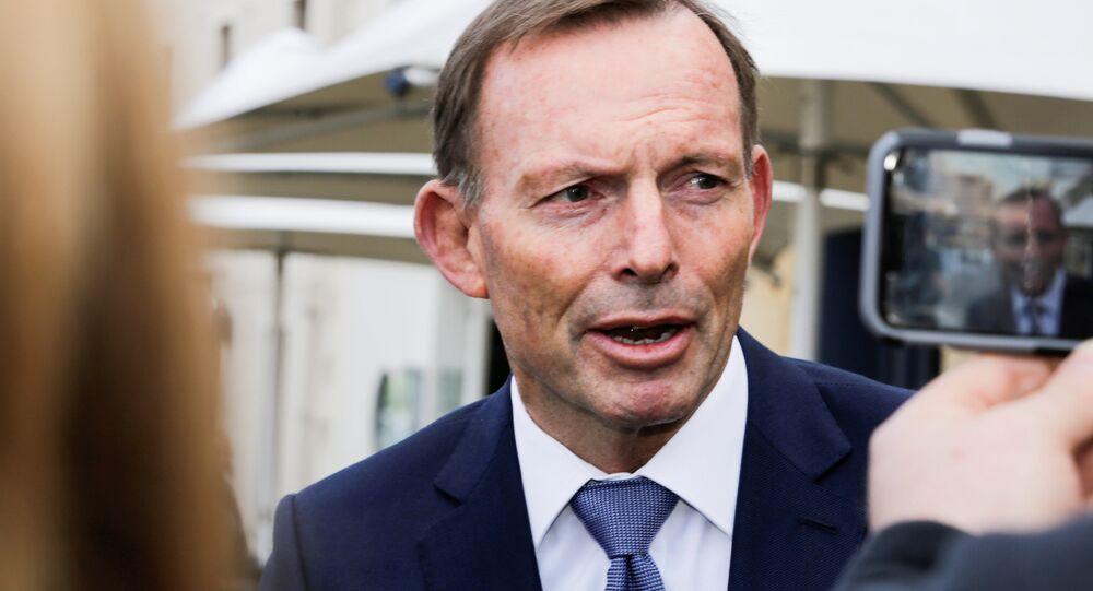 Former Australian prime minister Tony Abbott speaks to the press in Hobart, Australia, September 22, 2017 after an alleged assault on him Thursday night