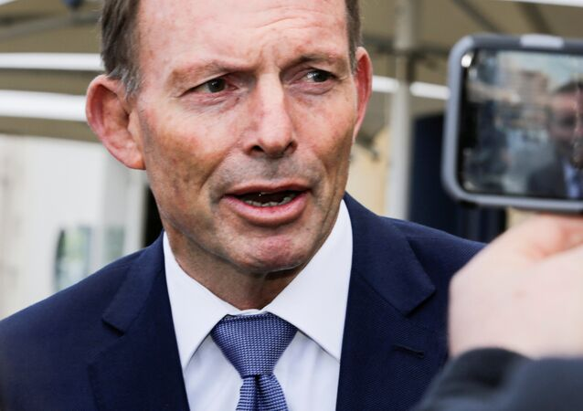 Former Australian prime minister Tony Abbott speaks to the press in Hobart, Australia, September 22, 2017 after an alleged assault on him Thursday night
