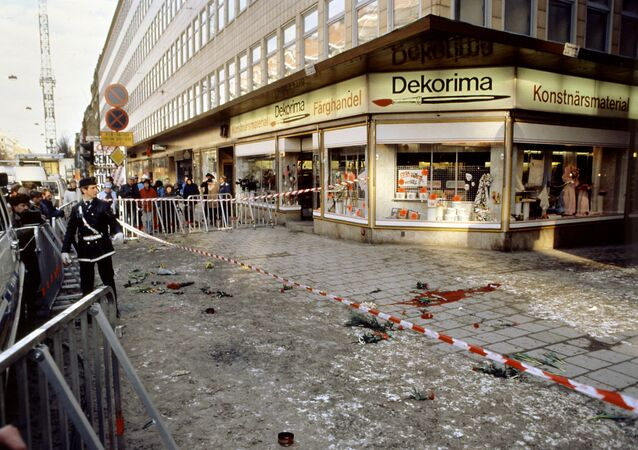 Photo dated of March 1986, of the place where Swedish Prime Minister Olof Palme was killed overnight 28 February 1986 by a lone gunner in central Stockholm