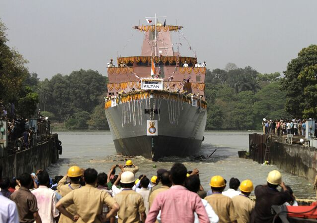 Indian cheer during the launch of Indian Navy's anti-submarine warfare corvette INS Kiltan on the Ganges river in Kolkata, India. (File)