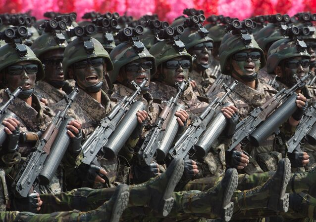 Soldiers during a military parade marking the 105th birthday of Kim Il-Sung, the founder of North Korea, in Pyongyang