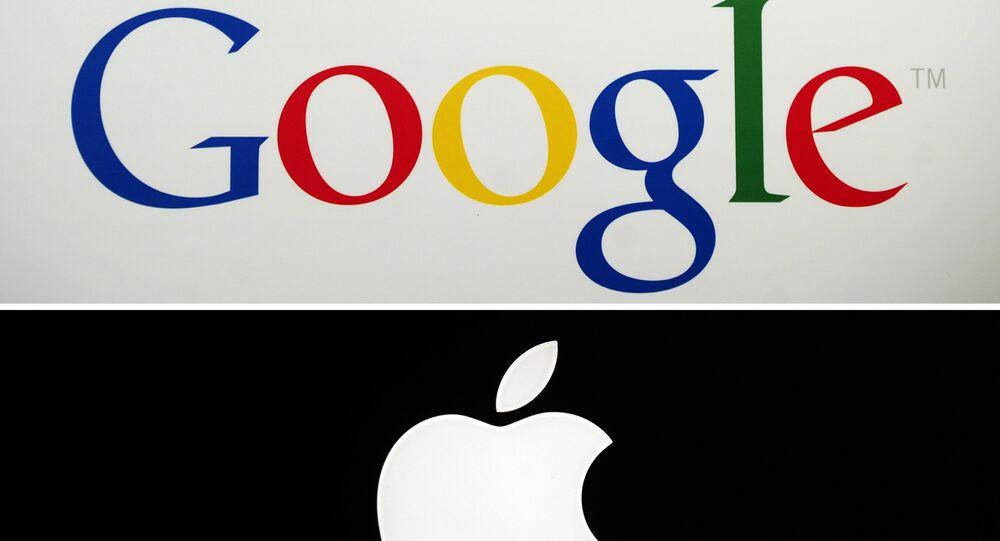 Google's logo and Apple's logo. (File)