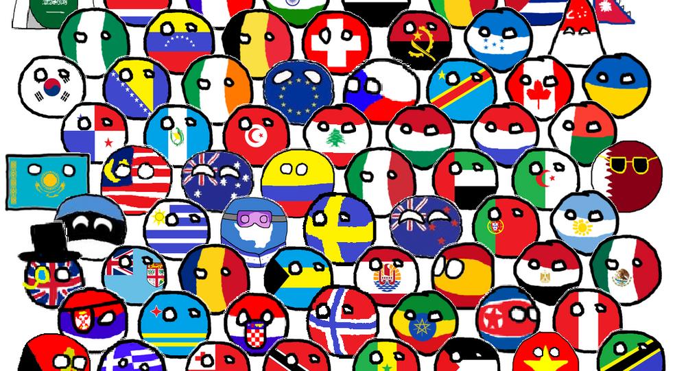 Selection of Polandballs representing several parts of the world