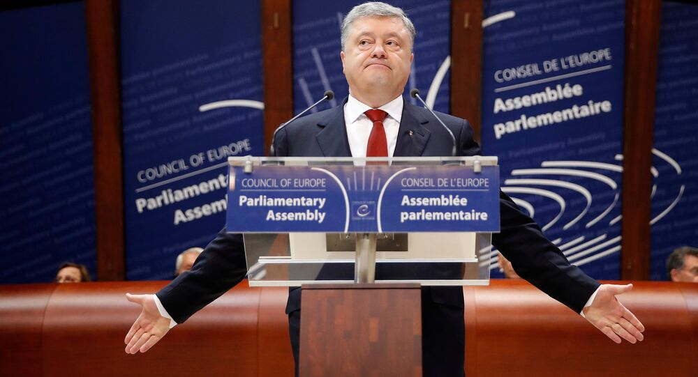 Ukraine's President Petro Poroshenko addresses the Parliamentary Assembly of the Council of Europe in Strasbourg, France, October 11, 2017.