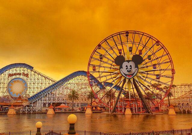 Disneyland is seen as wildfires rage across northern California, in Anaheim