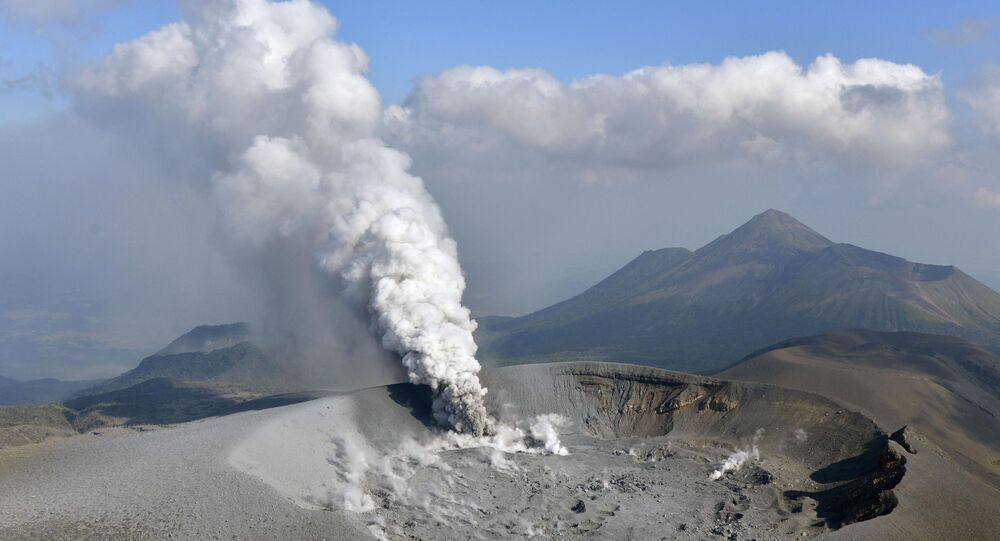 The Shinmoe volcano is seen after eruption, Kirishima, Kagoshima prefecture, Japan in this photo taken by Kyodo on October 11, 2017.