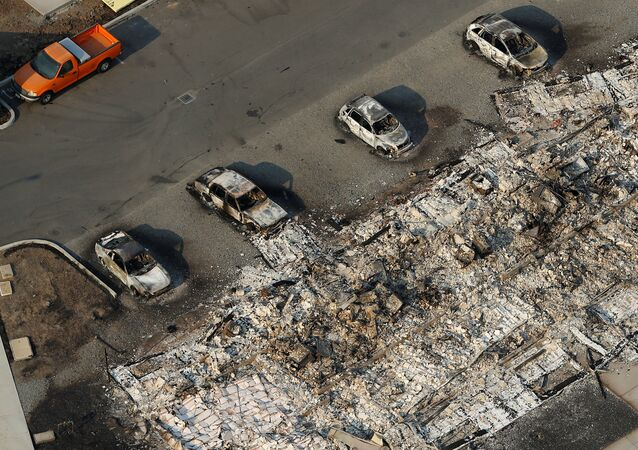 An aerial view of properties destroyed by the Tubbs Fire is seen in Santa Rosa, California, U.S., October 11, 2017