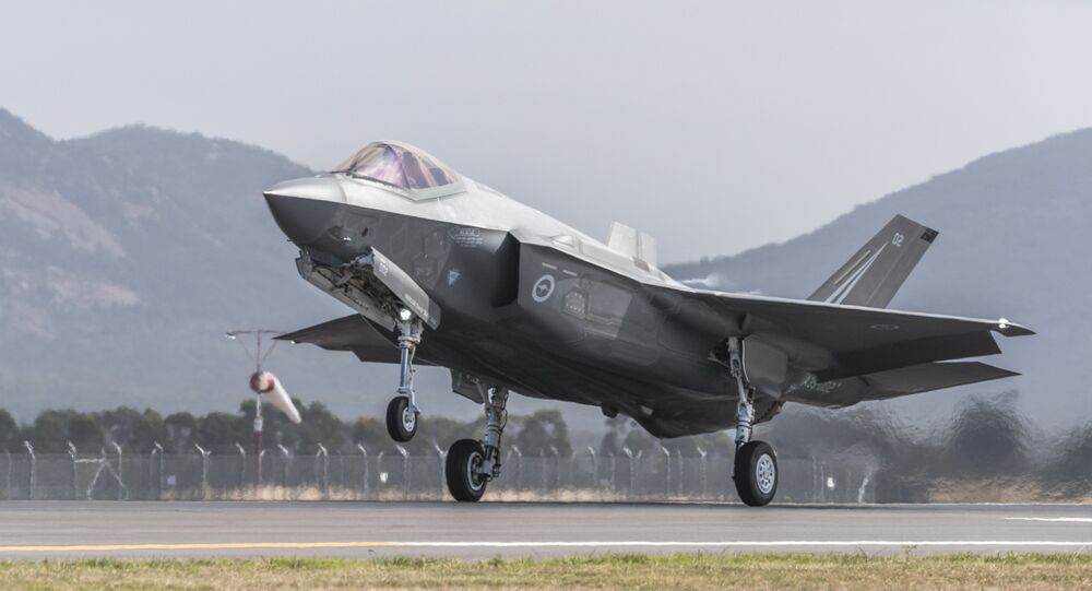 A Royal Australian Air Force F-35 aircraft takes off during the Australian International Airshow at Avalon airport on March 3, 2017