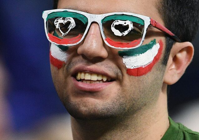 An Iranian football fan during a friendly match between Russia and Iran. File photo
