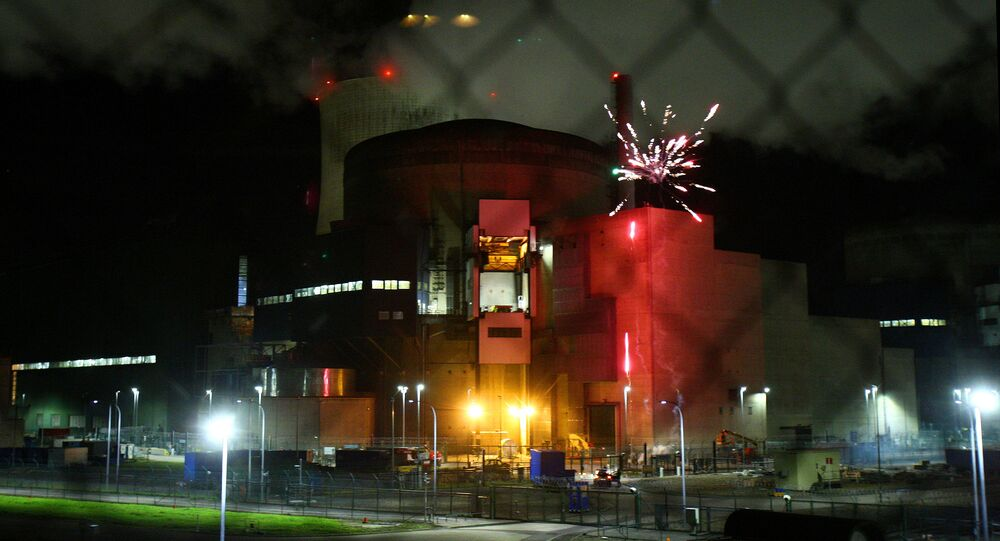 View of fireworks in an image provided by Greenpeace at the Cattenom nuclear power plant in France. File photo