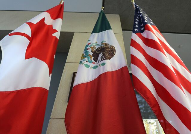 The Mexican, US and the Canadian flags sit in the lobby where the third round of the NAFTA renegotiations are taking place in Ottawa, Ontario, September 24, 2017